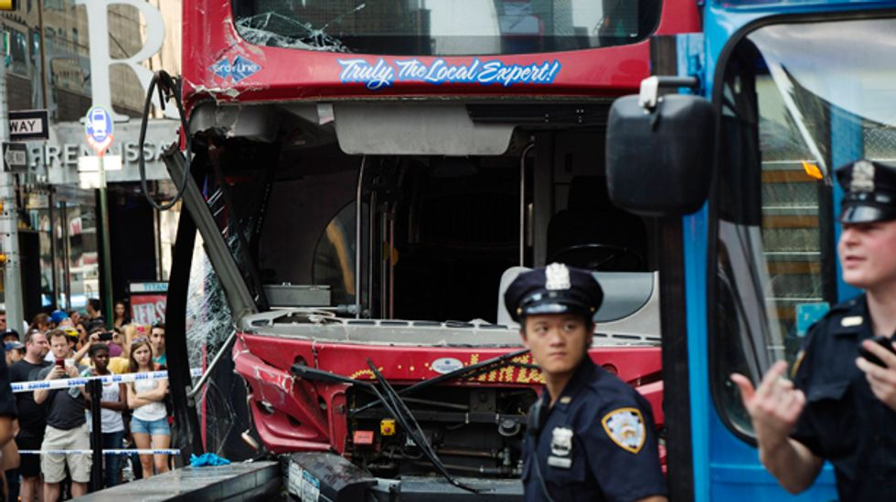 14 injured in Times Square open top tourist bus collision