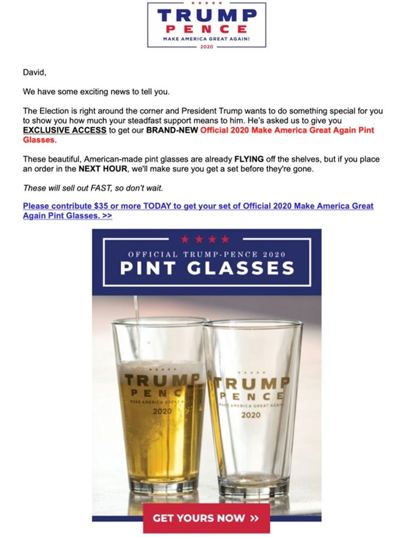Trump pint glasses